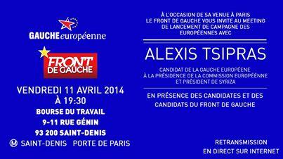ATTENTION ! Changement de lieu -Meeting Front de Gauche avec Alexis Tsipras,à St.Denis